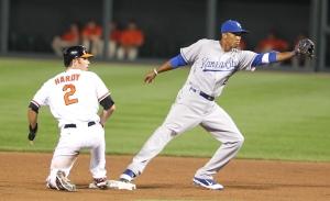 Baltimore Orioles shortstop J.J. Hardy (2) and Kansas City Royals shortstop Alcides Escobar (2)